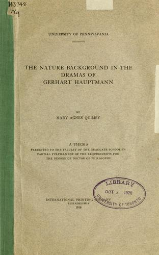 The nature background in the dramas of Gerhart Hauptmann.