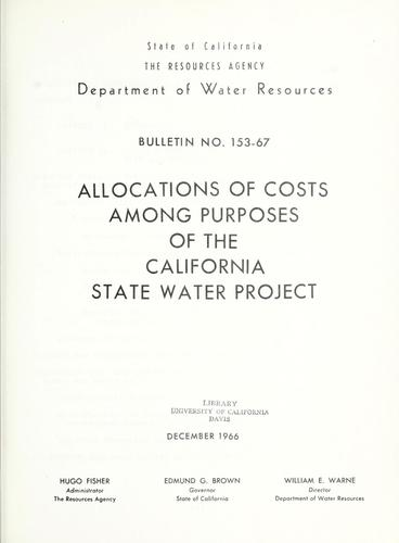 Download Allocations of costs among purposes of the California State Water Project
