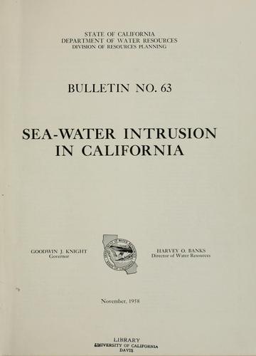Sea water intrusion in California.