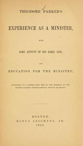 Download Theodore Parker's experience as a minister