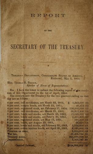 Report of the secretary of the Treasury.