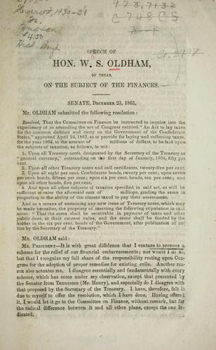 Download Speech of Hon. W.S. Oldham, of Texas, on the subject of the finances.