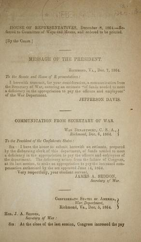 Communication from secretary of war submitting an estimate of funds needed to meet a deficiency in the appropriation to pay the officers and employees of the department