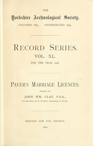 Download Paver's marriage licences.