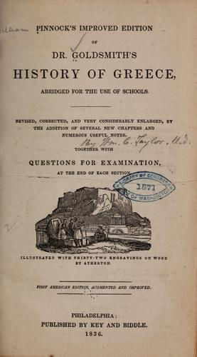 Pinnock's improved edition of Dr. Goldsmith's History of Greece