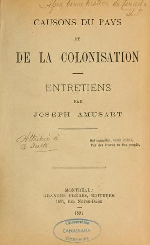 Download Causons du pays et de la colonisation