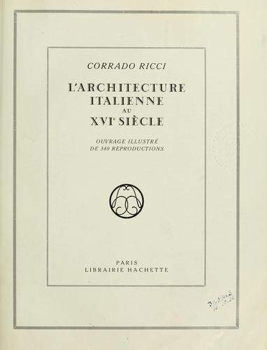 Download L' architecture italienne au XVIe siècle.