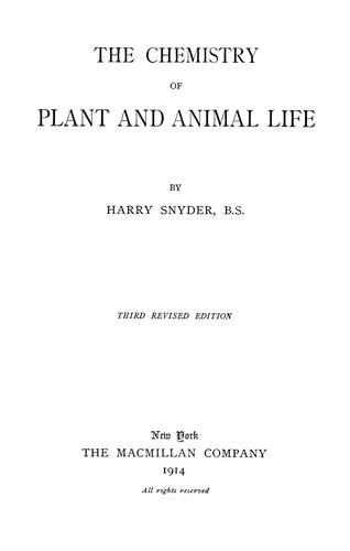 Download The chemistry of plant and animal life.