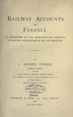 Railway accounts and finance