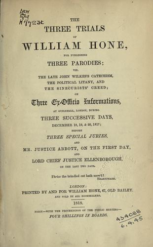 Download Three trials of William Hone