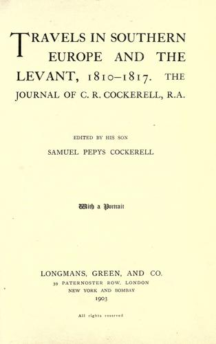 Download Travels in southern Europe and the Levant, 1810-1817.