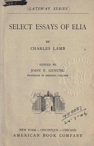 Select essays of Elia