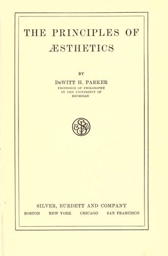 Download The principles of aesthetics.