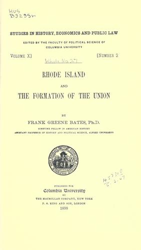 Download Rhode Island and the formation of the union