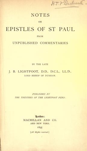 Notes on Epistles of St. Paul from unpublished commentaries