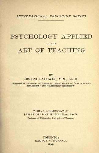 Download Psychology applied to the art of teaching