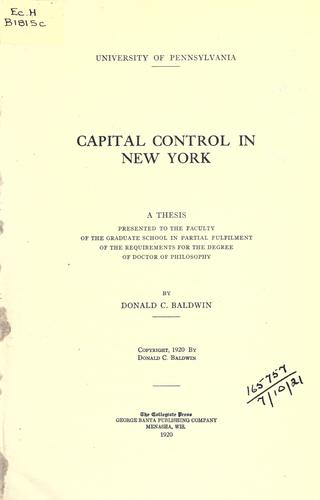 Download Capital control in New York.