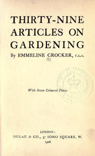 Download Thirty-nine articles on gardening.