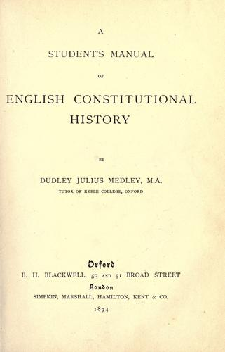 A student's manual of English constitutional history