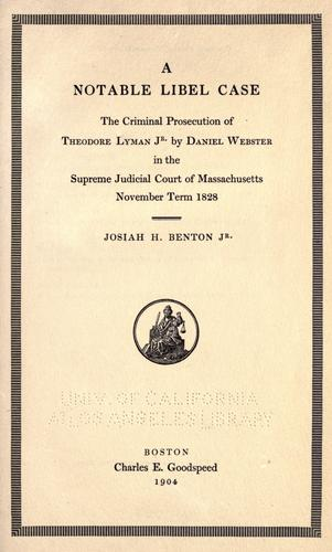Download A notable libel case