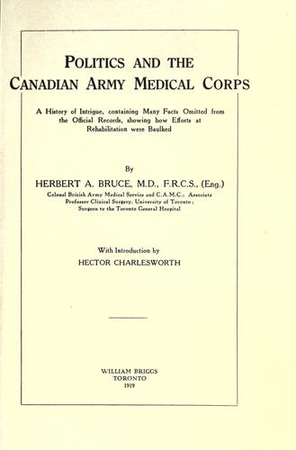 Download Politics and the Canadian Army Medical Corps