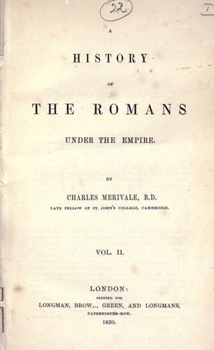 A history of the Romans under the empire.