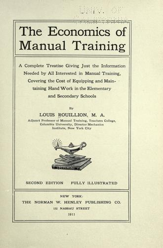 Download The economics of manual training