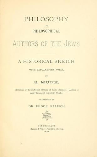 Download Philosophy and philosophical authors of the Jews.