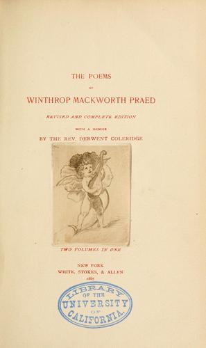 The poems of Winthrop Mackworth Praed.