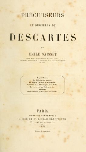 Précurseurs et disciples de Descartes.