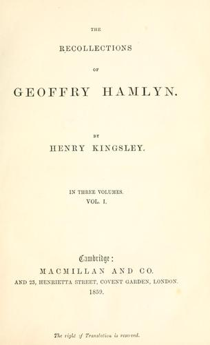 The recollections of Geoffry Hamlyn.