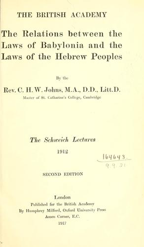 The relations between the laws of Babylonia and the laws of the Hebrew peoples.