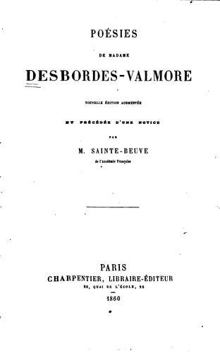 Poésies de Madame Desbordes-Valmore