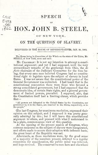 Download Speech of Hon. John B. Steele, of New York, on the question of slavery
