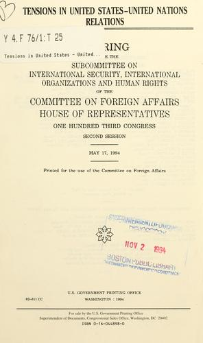 Download Tensions in United States-United Nations relations