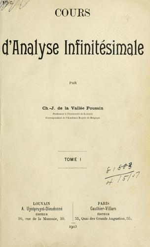 Download Cours d'analyse infinitésimale.