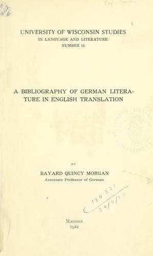 A bibliography of German literature in English translation.