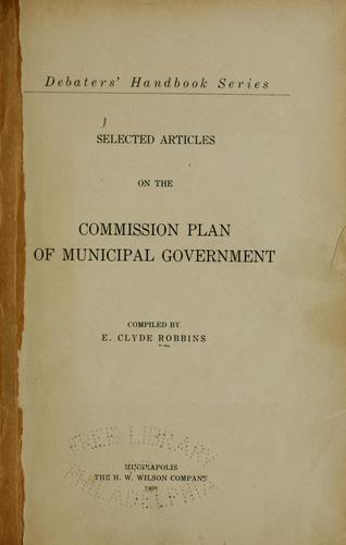 Selected articles on the commission plan of municipal government