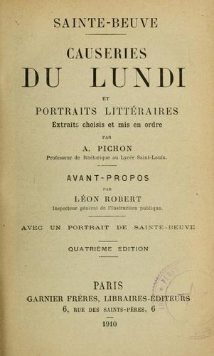 Download Causeries du lundi et portraits littéraires