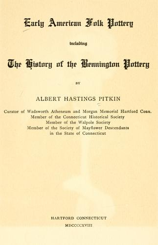 cover of  early american folk pottery by albert hastings pitkin