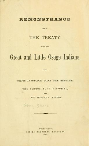Download Remonstrance against the treaty with the Great and Little Osage Indians