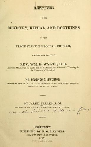 Download Letters on the ministry, ritual and doctrines of the Protestant Episcopal Church