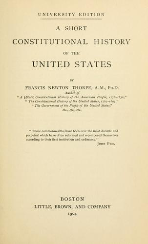 Download A short constitutional history of the United States