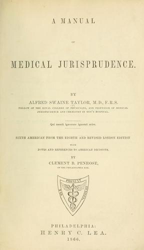 A manual of medical jurisprudence