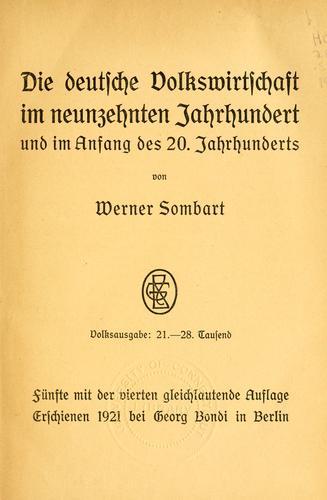 Download Die deutsche Volkswirtschaft im neunzehnten Jahrhundert und im Anfang des 20. Jahrhunderts