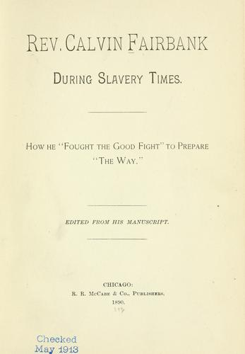 Download Rev. Calvin Fairbank during slavery times