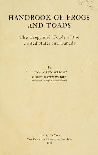 Download Handbook of frogs and toads … of the United States and Canada.