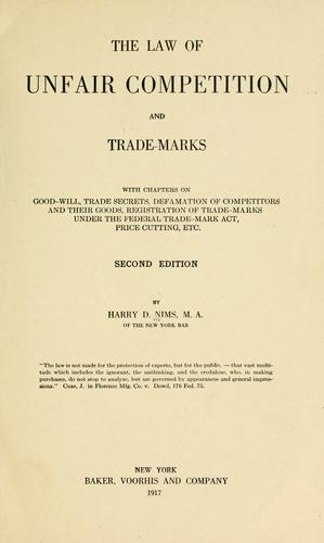 The law of unfair competition and trade-marks
