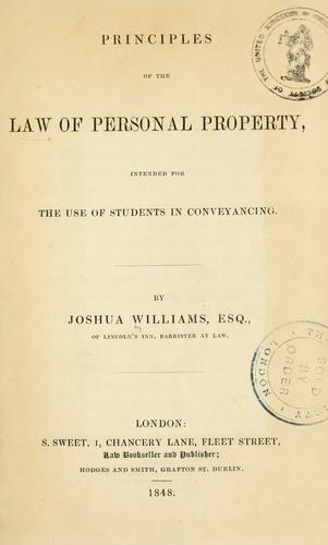 Download Principles of the law of personal property