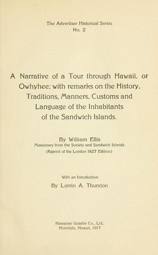 Download A narrative of a tour through Hawaii, or Owhyhee